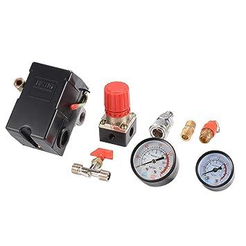 kreema Válvula del interruptor de control de la presión del compresor de aire de 4 puertos con regulador Nivel: Amazon.es: Bricolaje y herramientas