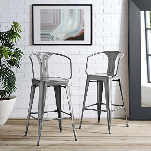 Modway Promenade Modern Aluminum Bistro Bar Stool With Arms in Gunmetal