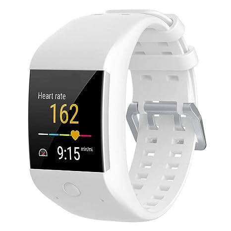 AUTOECHO Bracelet de rechange en silicone confortable pour montre connectée Polar M600 avec boucle classique en