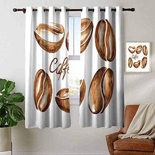 hengshu Coffee 99% Blackout Curtains Watercolor Effect Beans Breakfast Drink Brush Strokes Pattern Abstract Artistic for Bedroom, Kindergarten, Living Room W72 x L108 Inch Caramel White