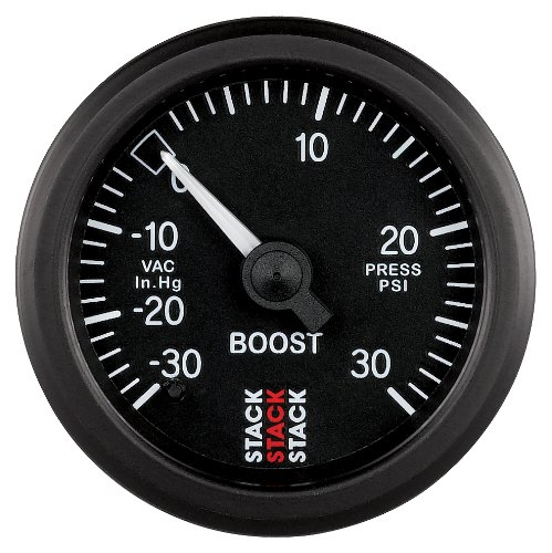 Stack ST3112 Black 52mm 30 PSI Universal T-Fitting Mechanical Boost Pressure Gauge 30 inHg to