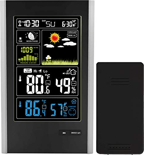 Think Gizmos Wireless Weather Station with Indoor/Outdoor Wireless Sensor and USB Charge Port - TG646 Weather Station Clock with Color Icons for Forecasting/Temperature with Alerts/Humidity