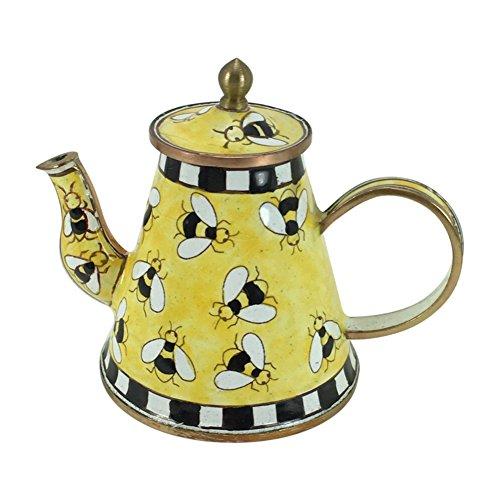 Enameled Bee Charm - Bumblebee Miniature Teapot by Kelvin Chen, Enameled, 3.75 W x 3.25T