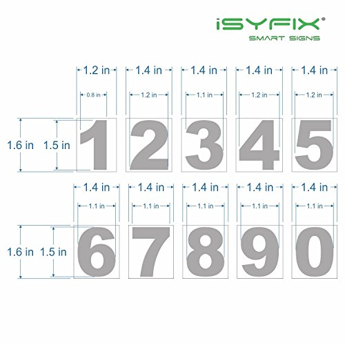 1.5 in White Vinyl Numbers Stickers, Self Adhesive -2 Sets - Premium Decal Die Cut and Pre-Spaced for Mailbox, Signs, Window, Door, Cars, Trucks, Home, Business, Address Number, Indoor or Outdoor by iSYFIX (Image #5)