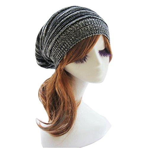 BEAUTYVAN Cap Unisex Men Winter Warm Oversized Knit Baggy Beanie Ski Cap Hat (D)
