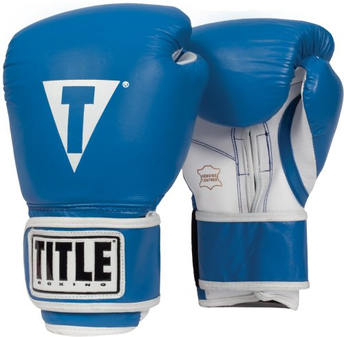 TITLE Boxing Pro Style Leather Training Gloves, Blue/White, 16 oz