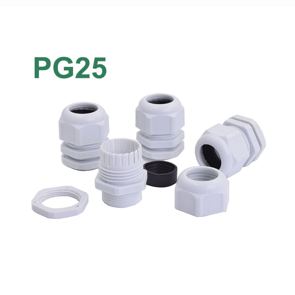 50pcs/lot PG25 Waterproof Cable Gland Connector Black Adjustable IP68 M32 Plastic Cable Gland with Locknut For 16-21mm Wire