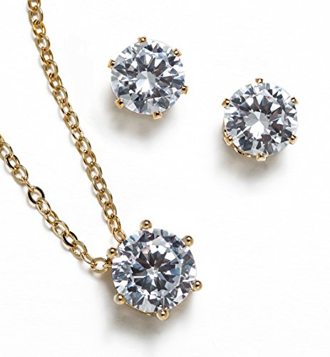 Bridesmaid jewelry gift Cubic Zirconia Necklace set (Gold, Set of 2)