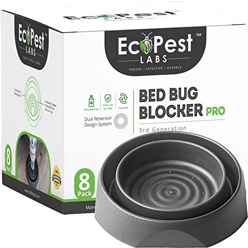 Bed Bug Interceptors - 8 Pack | Bed Bug Blocker (Pro) Interceptor Traps (Black) | Eco Friendly Insect Trap for Bed Legs | No Chemicals or Pesticides | Killer, Detector, and Trap for Bed Bugs