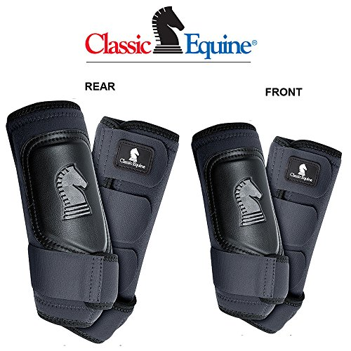 4 PACK CLASSIC EQUINE CROSS FIT HORSE LEG BOOT FRONT REAR HIND BLACK - SMALL by Classic Equine