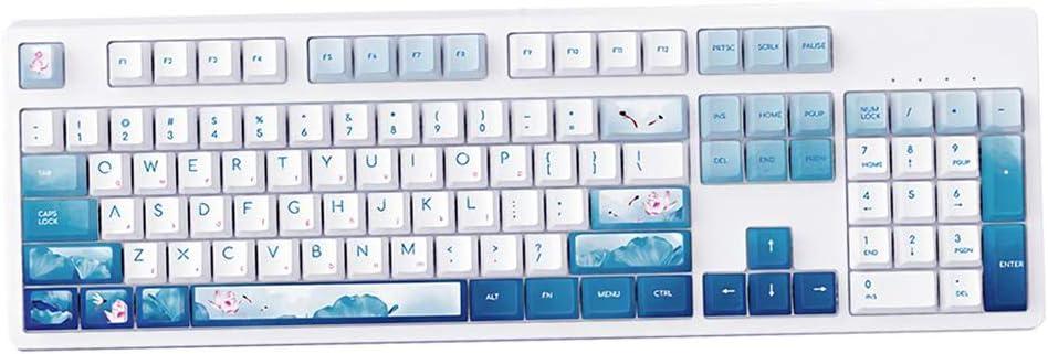 IPOTCH Teclado mecánico para Juegos 104 Teclas Teclado USB con Cable Estilo Lotus Chino para Ordenador portátil de sobremesa - Interruptor Azul