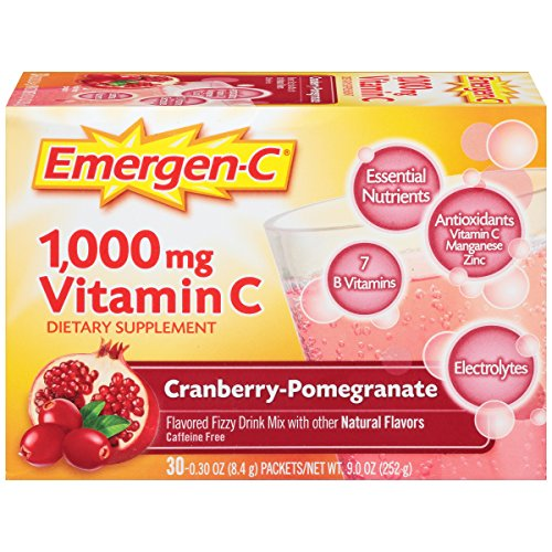 076314301935 - Emergen-C Dietary Supplement Drink Mix with 1000 mg Vitamin C, 0.30 Ounce Packets, Caffeine Free (Cranberry-Pomegranate Flavor, 30 Count) carousel main 3