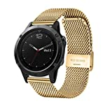 omega 22mm band - NewKelly Milanese Stainless Steel GPS Watch Band Strap Bracelet For Garmin Fenix 5