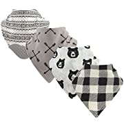 Yoga Sprout Baby Bandana Bib with Teether, Bear Hugs 4 Pack, One Size
