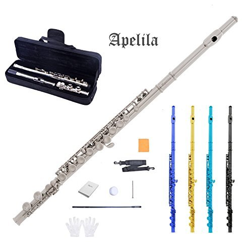 Apelila Flutes - 16 Closed Hole Silver Nickel Plated C Key Flute with Care Case, Cork Grease, Cleaning Cloth, Strap, Cleaning Stick, Screwdriver, Gloves