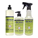 Health & Personal Care : Mrs. Meyer's Kitchen basics set, Lemon Verbena, 3 ct: dish soap, hand soap & multi-surface everyday cleaner