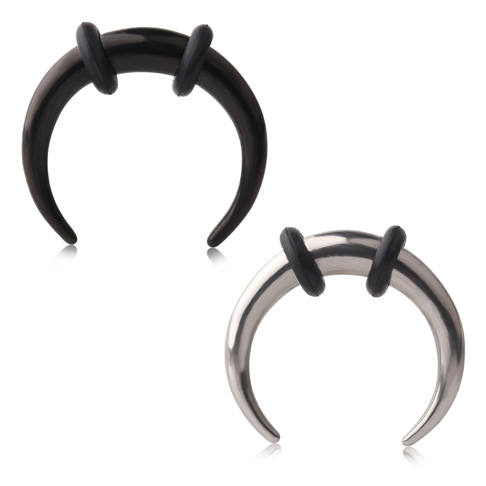 Ruifan 2pcs 316L Stainless Steel C shape Pincher Tapers Septum Buffalo Taper Expander Pierced Nose, Nipple or Earring Ring with Black O-Rings 8G (Steel+Black)