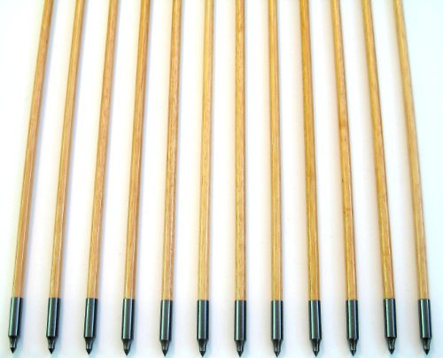 12 Shiny Black Handsome, Premium Wood Arrows with Turkey Feathers & Stainless Steel Field Points -- for Recurve, Compound, or Long Bow. 32 Inches
