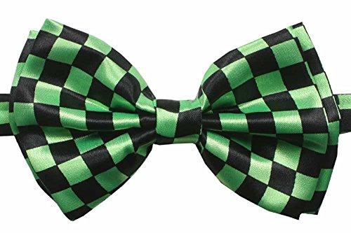 - Novelty Mens Adjustable Tuxedo Checkered Black Green Bowtie Adjustable Elastic Strap Bowtie