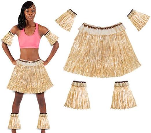 Wenhu Falda Hawaiana Falda de Hierba de Hula Accesorios de Flores ...