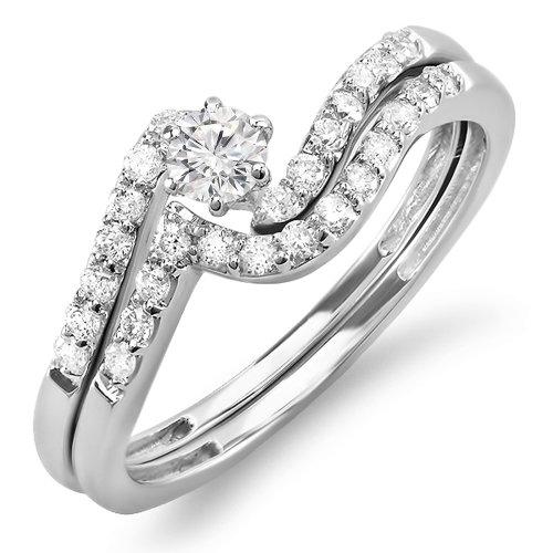 0.50 Carat (ctw) 14k White Gold Round Diamond Ladies Bridal Ring Engagement Matching Wedding Band Set 1/2 CT (Size 7)