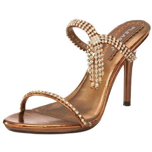 Pleaser Women's Enchant-02 Slip On Sandal,Bronze Metallic PU,9 M US