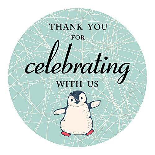 MAGJUCHE Penguin Thank You Stickers, Holiday & Christmas Penguin Themed Party Supplies, Sticker Labels for Favors, Decorations, 2 Inch Round, 40-Pack ()