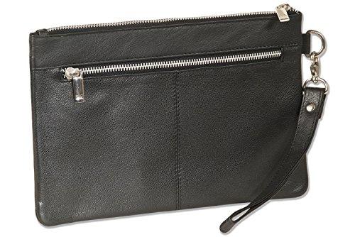Rimbaldi® Flache Universaltasche mit praktischer Lederschlaufe aus hochwertigem Rind-Nappaleder in Schwarz