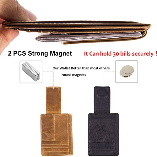 Wallets with Money Clip Mens Minimalist Genuine Leather Magnet Front Pocket Wallet RFID Blocking (Light Brown) by Mcdull (Image #3)