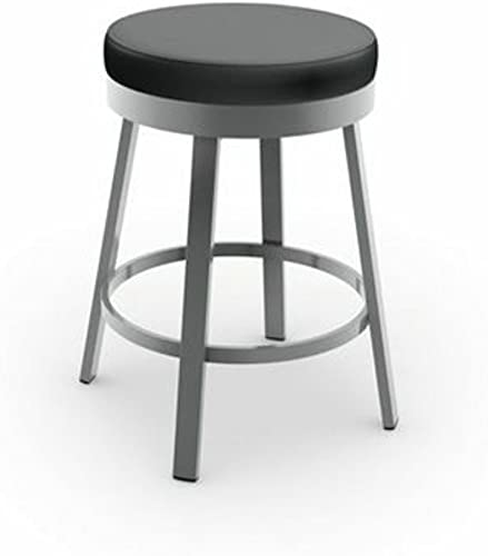 Amisco Clock Swivel Metal Counter Stool, 26-Inch, Grey Metal and Mat Charcoal Black Polyurethane