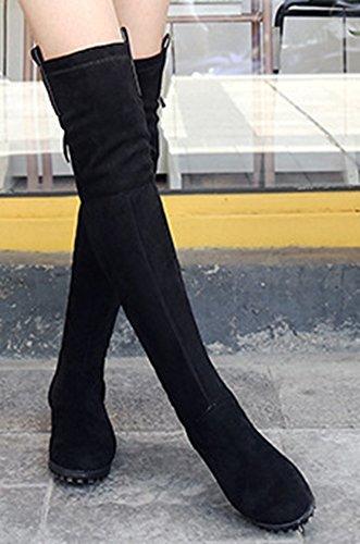 Longues Aisun Noir1 Cuissardes Bottes Chaud Femme Tige Sexy Haute paxIprq