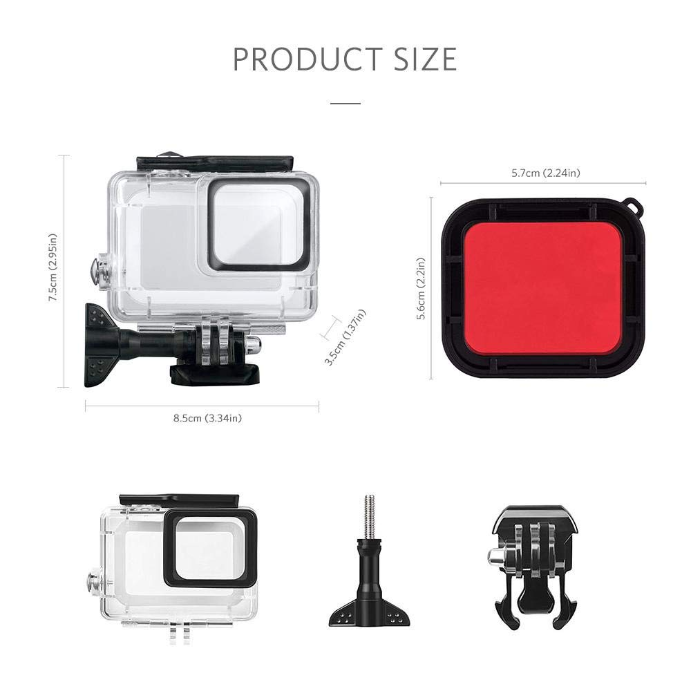 Waterproof Housing Case Filter for GoPro Hero7 Silver// Hero7 White Action Camera Diving Camera Protective Housing Shell Skeleton Frame 45m with Quick Release Bracket /& Thumbscrew Accessories