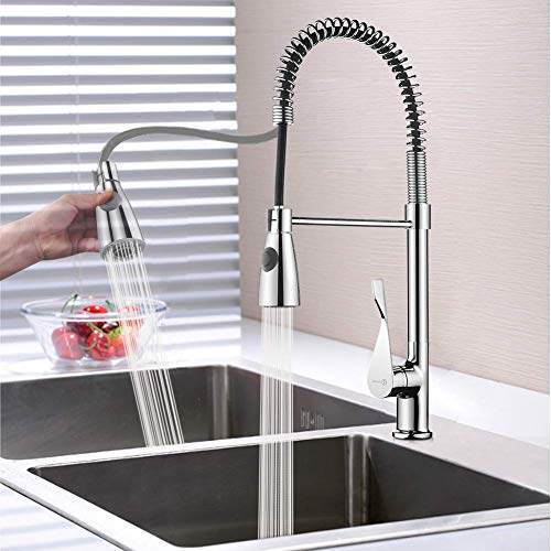Stamo Kitchen Faucets Single Handle Deck Mount Stainless Steel Kitchen Sink Faucet Modern Commercial Pull-Down Sprayer Faucets