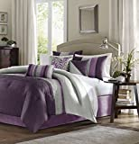 Madison Park Amherst King Size Bed Comforter Set Bed In A Bag - Purple, Grey, Pieced Stripes – 7 Pieces Bedding Sets – Ultra Soft Microfiber Bedroom Comforters