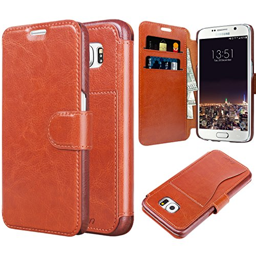 TAKEN Slim Wallet Leather Galaxy S6 Case with Vintage Flip Folio Cover and Durable Card Slot for Samsung Galaxy S6 2016 - Dark Brown, Best Gift for Business Lady, Men, Women, Boys, Girls