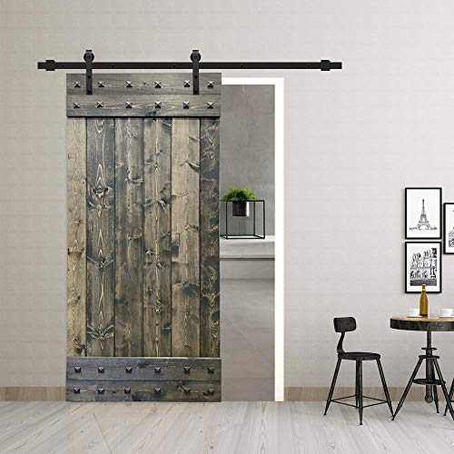 UKN 24 in X 84 Unfinished Barn Door with W/Sliding Hardware Wood Includes