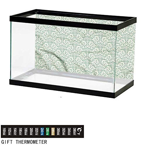 bybyhome Fish Tank Backdrop Damask,Victorian Style Old Fashion,Aquarium Background,24