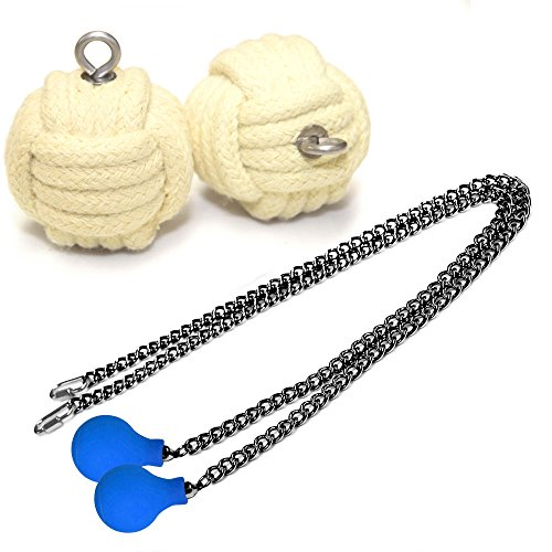 Pair of Pro WT4 Knob Monkey Fist Fire Poi Medium - Black Chain Blue Knobs, L - 27 inch (68cm)