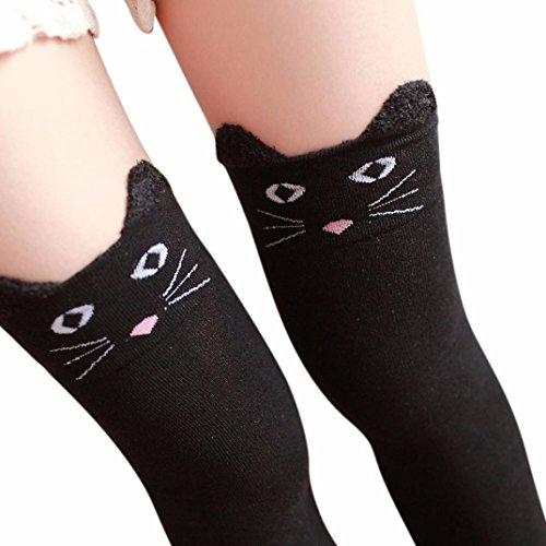 Napoo Women Winter Cartoon Cat Bear Panda Knitted Over Knee Long Boot Thigh-High Warm Socks (Black) (Stocking Buy)