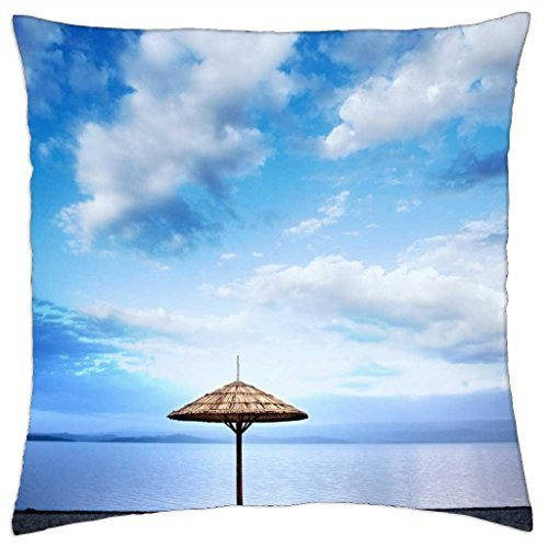 (thatched umbrella on a beach - Throw Pillow Cover Case (18)