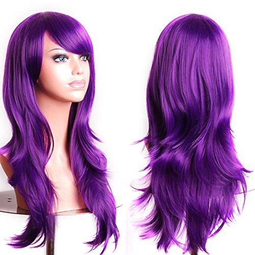 Purple Long Wig (Wigood Purple Long Curly Hair With Air Bangs Cosplay Wig With Free Wig Cap For Women)