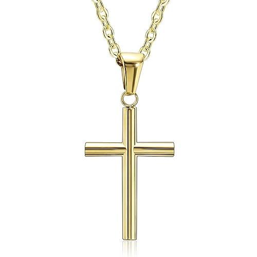 Amazon Com Epinki Stainless Steel Couple Necklace Simple Cross