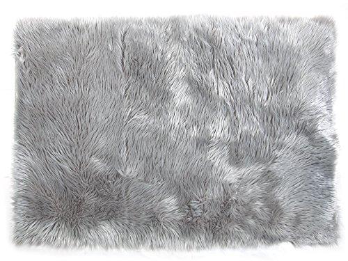Tadpoles Faux Fur Rug, Grey, 4×6 Feet
