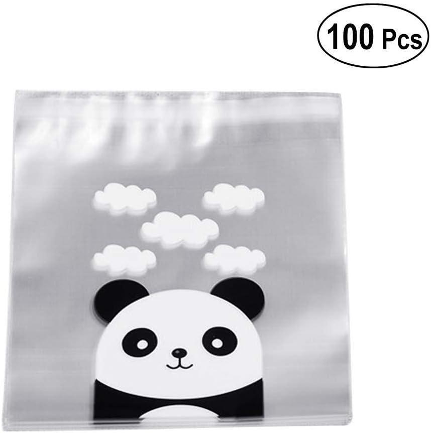 Lcjtaifu 100 Unids Panda Galleta Bolsas de Caramelo Envoltura de Plástico Transparente Bolsas de Empaque de Dibujos Animados Lindo Levántese la Bolsa para Ropa, Mantas, Armarios, Dormitorios
