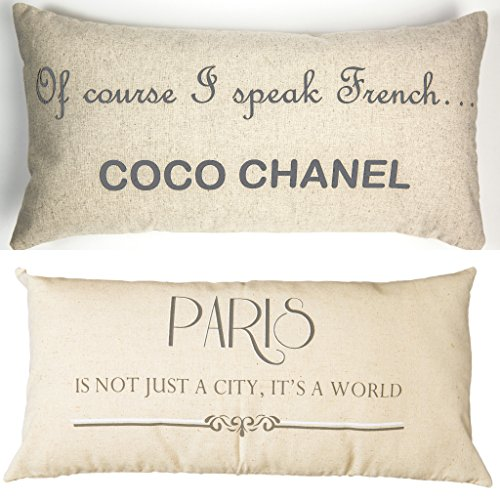 Evelyn Hope Collection Coco Chanel-Paris French Linen Message Throw (Hope Throw Pillow)