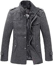 Chouyatou Men's Winter Stylish Wool Blend Single Breasted Military Pea