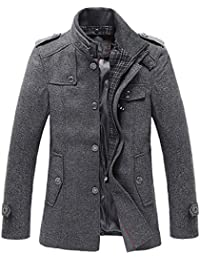 Men's Winter Stylish Wool Blend Single Breasted Military Peacoat