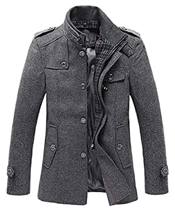 chouyatou Men's Winter Stylish Wool Blend Single Breasted