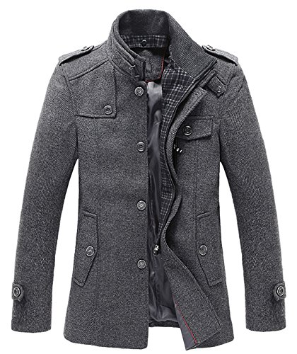 chouyatou Men's Winter Stylish Wool Blend Single Breasted Military Peacoat (Small, Gray)