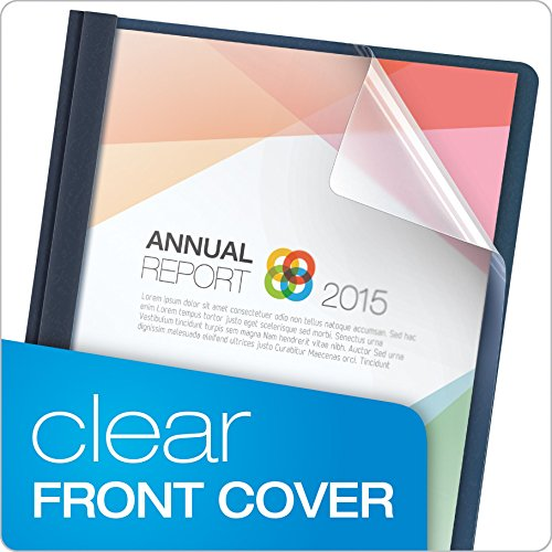 Oxford Clear Front Report Covers, Letter Size, Dark Blue, 25 per Box (55838EE)